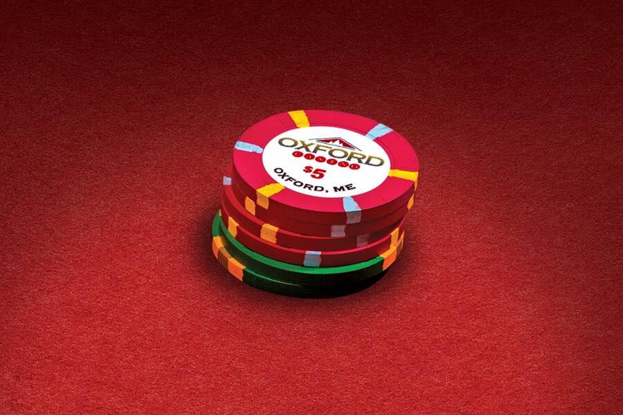 Green and Red Casino Chips Stacked